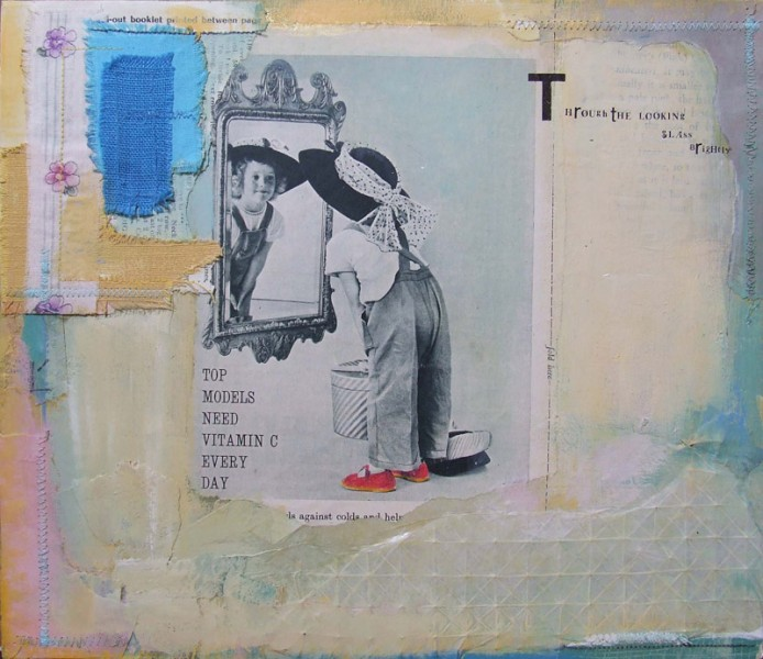 Mixed media/ collage on board